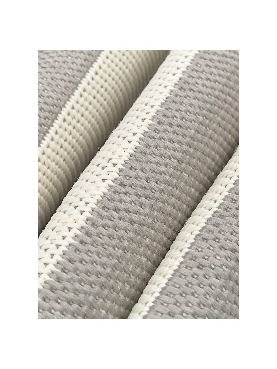 Gestreept in- & outdoor vloerkleed Axa in grijs/wit, 86% polypropyleen, 14% polyester, Crèmewit, grijs, B 200 x L 290 cm (maat L)