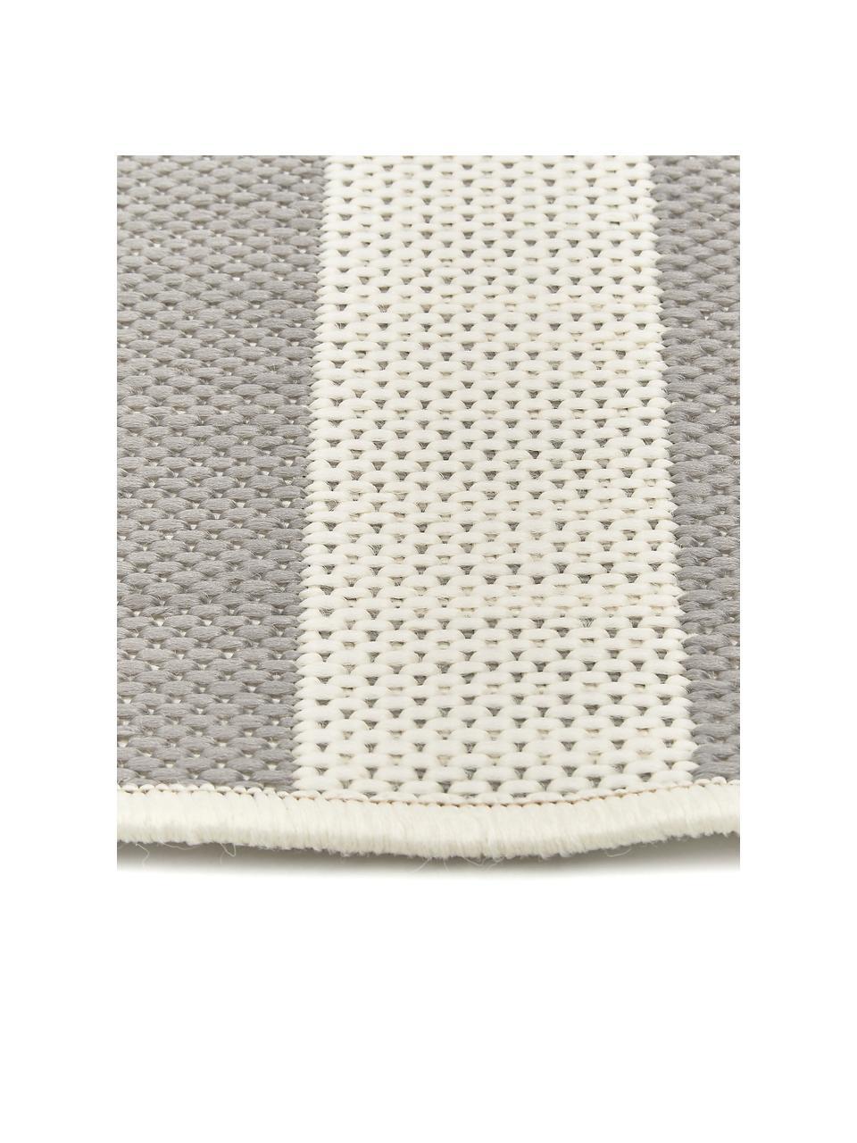 Tappeto a righe color grigio/bianco da interno-esterno Axa, 86% polipropilene, 14% poliestere, Bianco crema, grigio, Larg. 200 x Lung. 290 cm (taglia L)