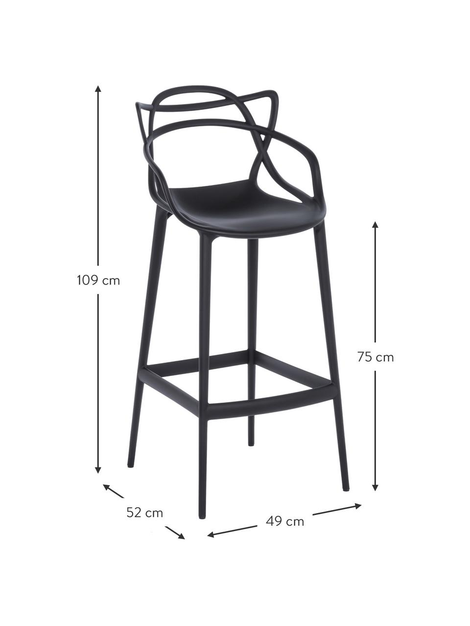 Sedia da bar di design Masters, Polipropilene, Nero, Larg. 49 x Alt. 109 cm