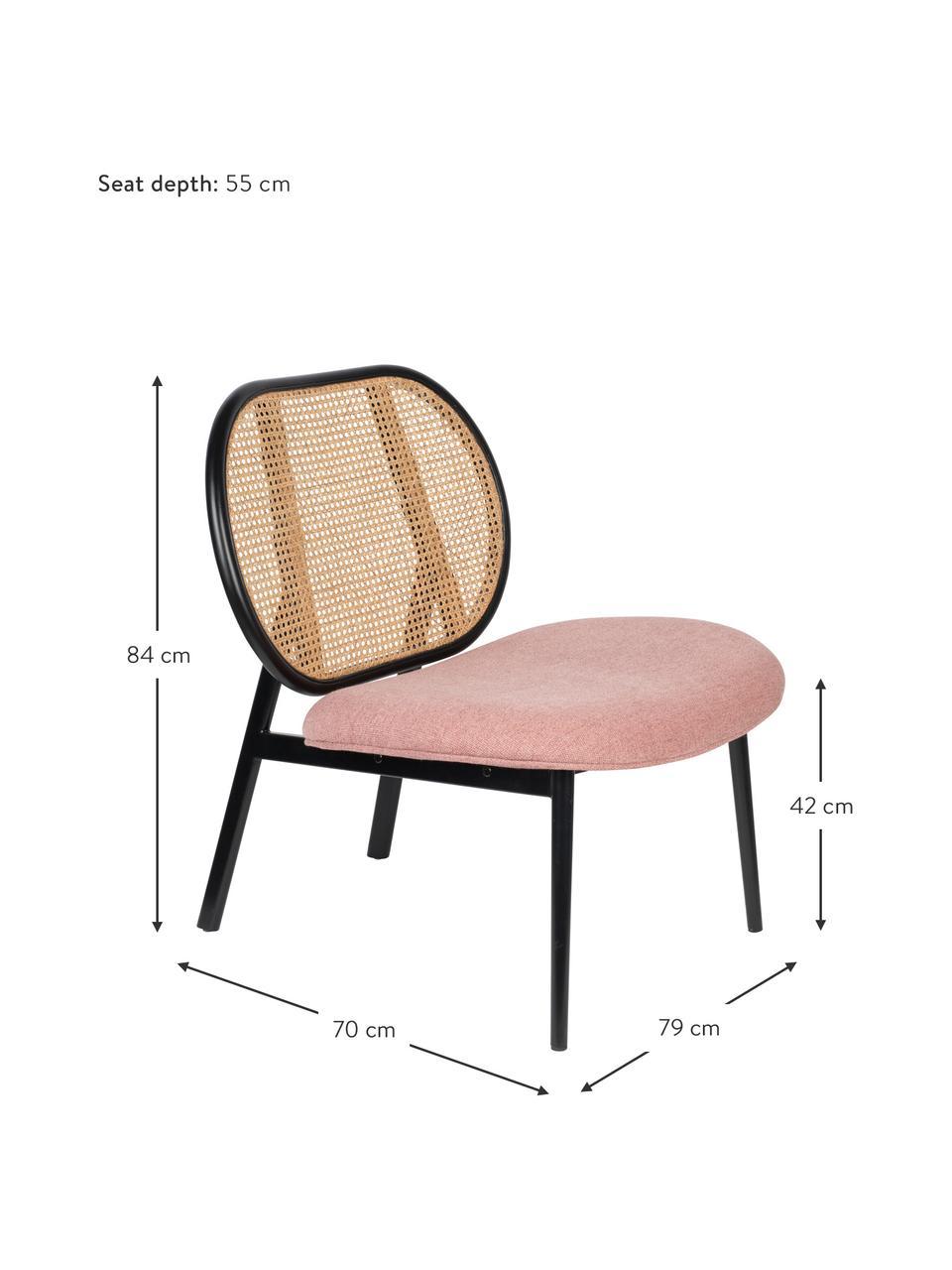 Fotel wypoczynkowy z plecionką wiedeńską Spike, Tapicerka: poliester 100 000 cykli w, Stelaż: rattan, drewno bukowe, Nogi: metal malowany proszkowo, Beżowy, blady różowy, S 79 x G 70 cm