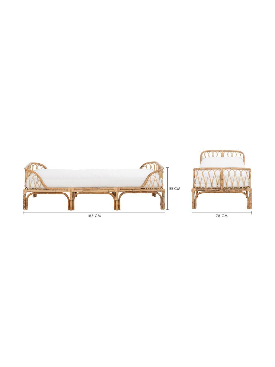 Łóżko dzienne z bambusa z poduszką Blond, Tapicerka: bawełna, Drewno bambusowe, biały, S 185 x G 78 cm
