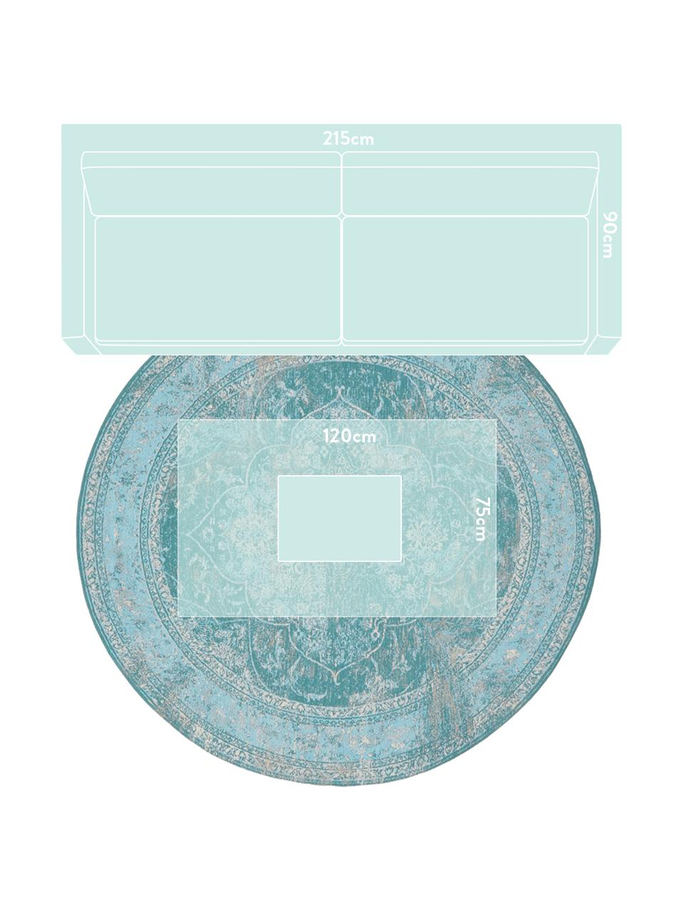 Tappeto rotondo vintage in ciniglia turchese Palermo, Retro: 100% cotone, Turchese, azzurro, crema, Ø 200 cm (taglia L)
