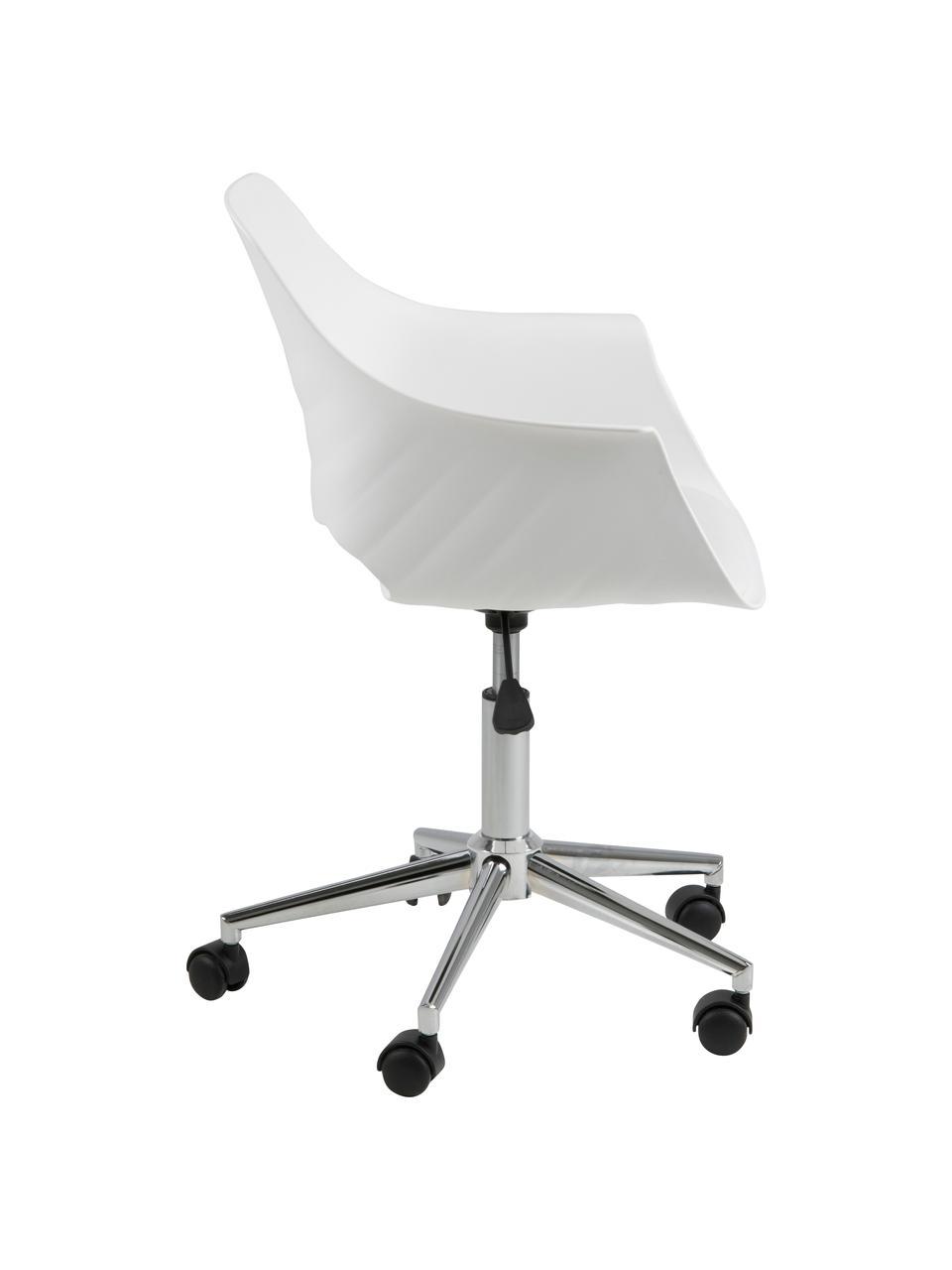 Biurowe krzesło obrotowe Ramona, Tapicerka: sztuczna skóra (poliureta, Nogi: metal chromowany, Biały, S 57 x G 53 cm