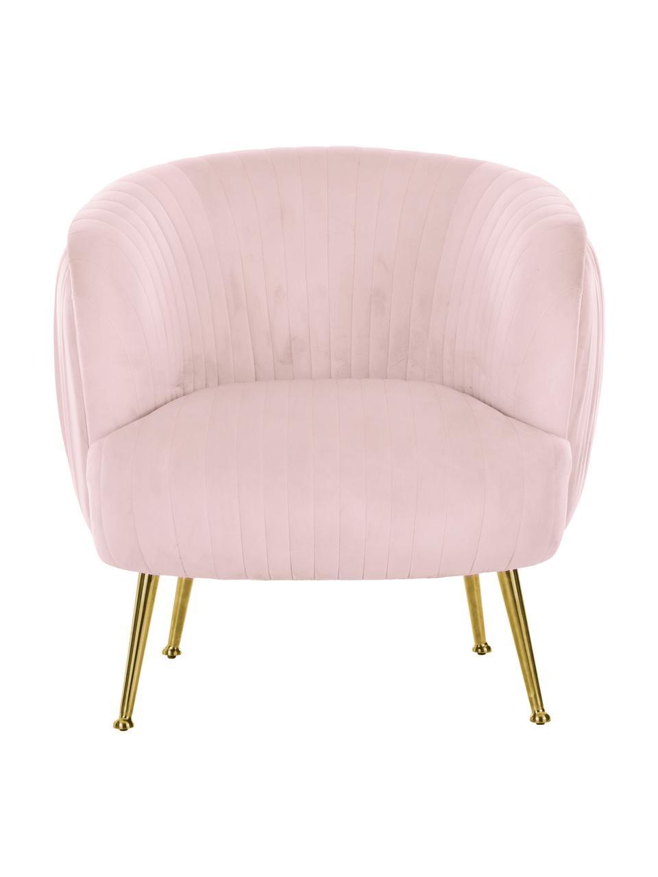 Fauteuil cocktail en veloursrose pastel Cara, Velours rose pastel