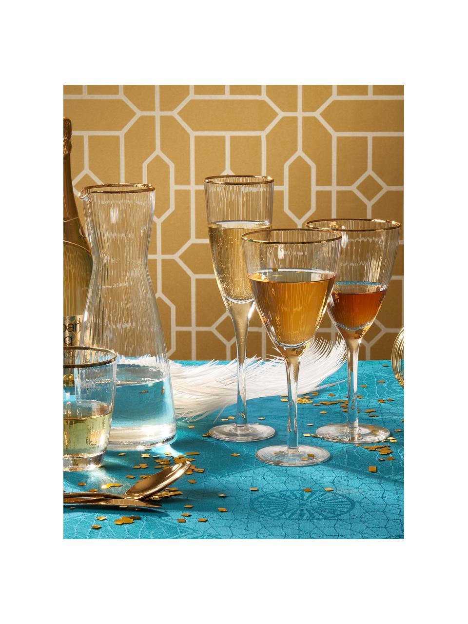 Bicchiere vino con bordo dorato Golden Twenties 4 pz, Vetro, Trasparente, Ø 9 x Alt. 22 cm
