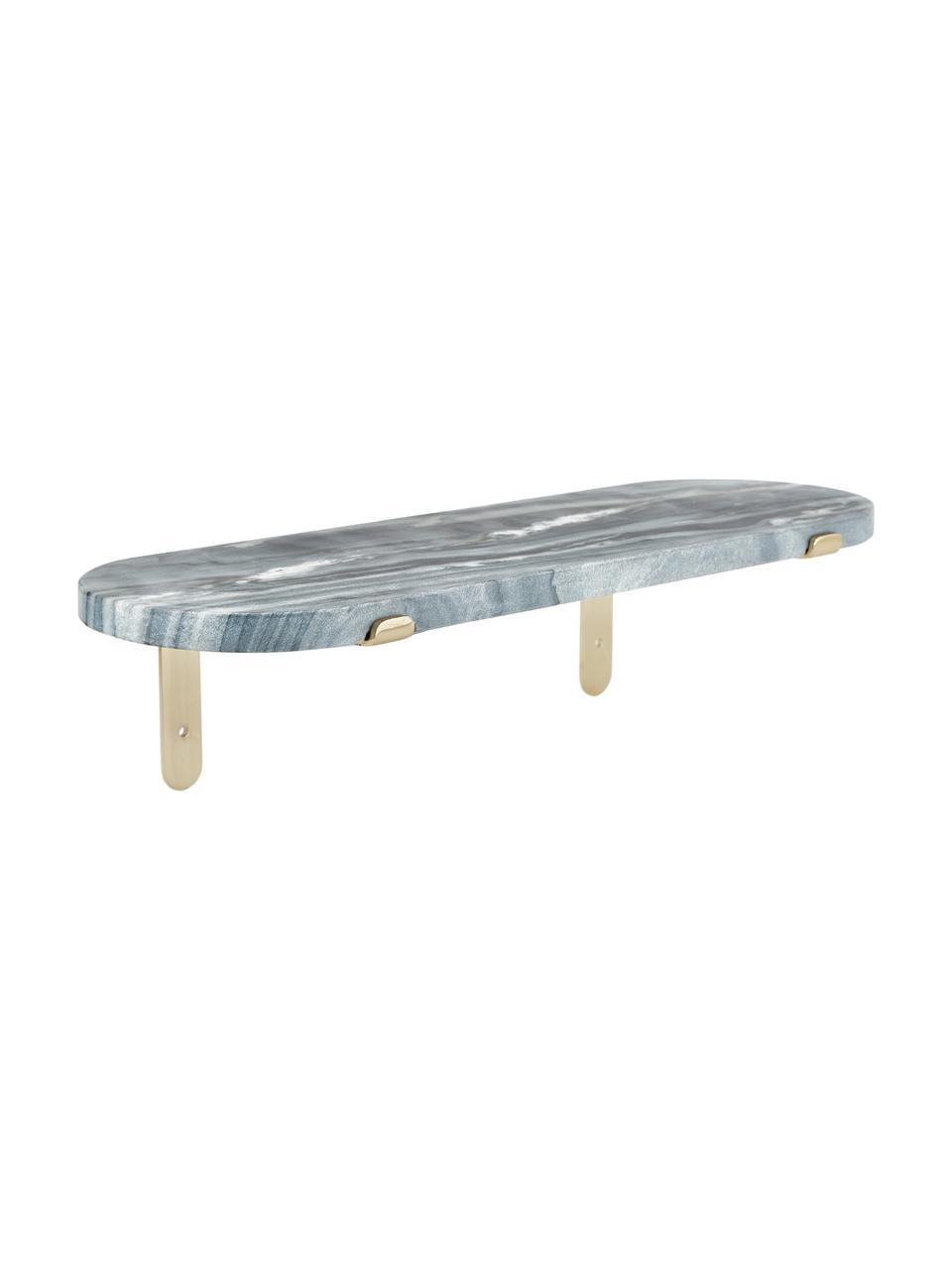 Marmeren wandplank Porter, Plank: marmer, Grijs, 60 x 16 cm