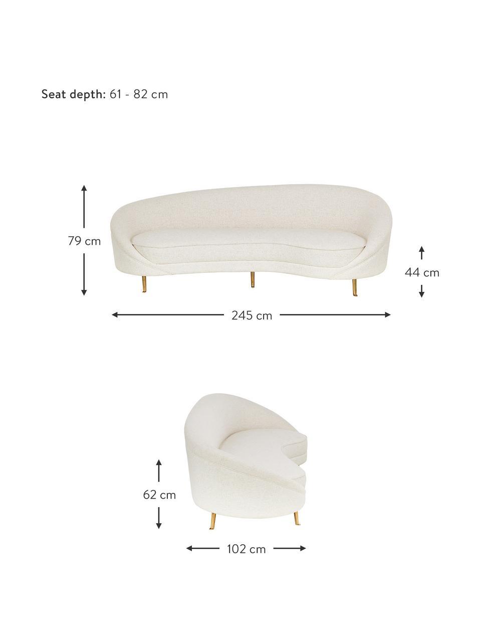 Bouclé-Nierensofa Gatsby (3-Sitzer) in Beige, Bezug: Bouclé (70% Polyester, 20, Gestell: Massives Eukalyptusholz, Füße: Metall, galvanisiert, Bouclé Beige, B 245 x T 102 cm