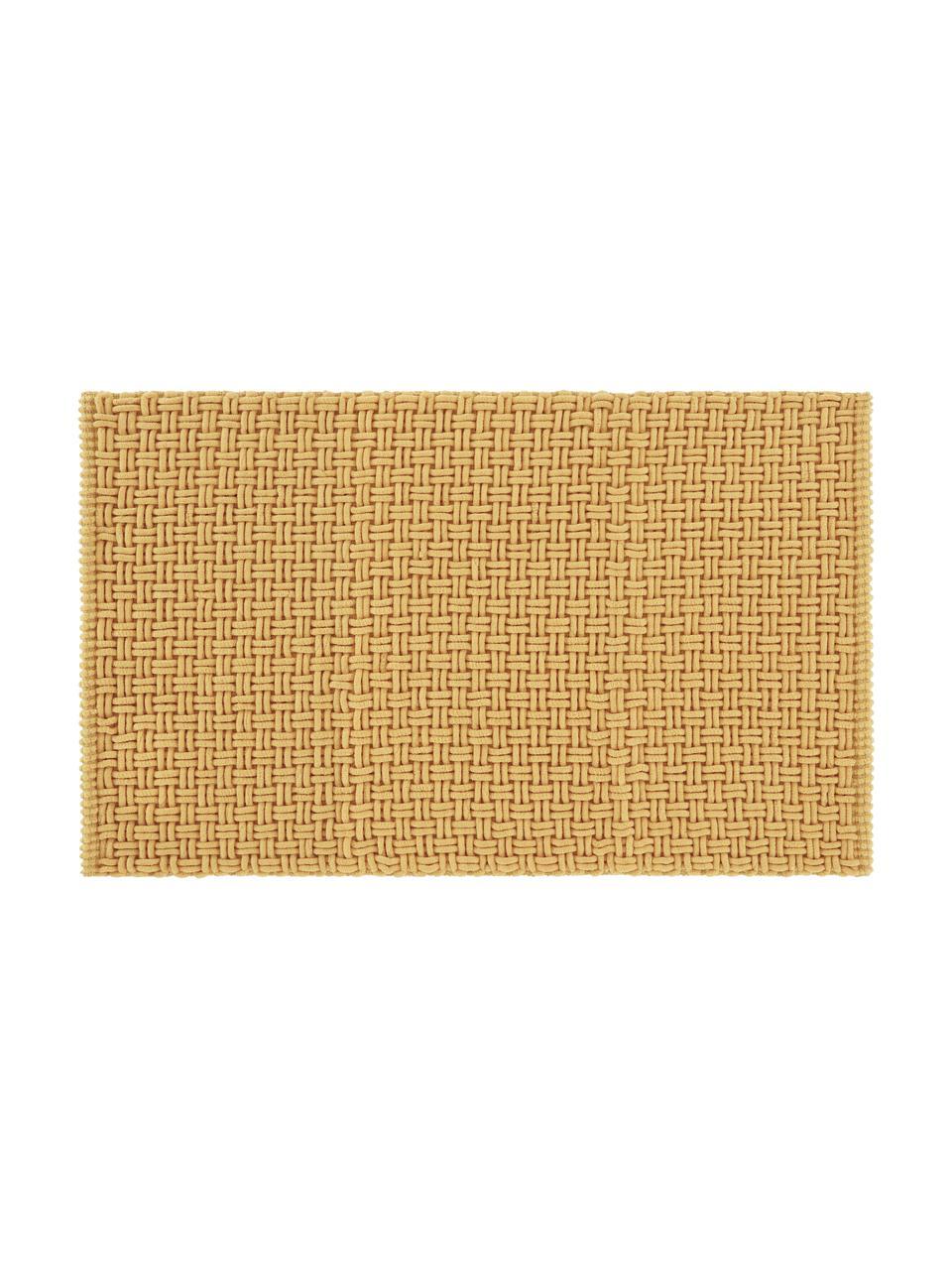 Weicher Badvorleger Panama mit Struktur in Gelb, 60% Polyester, 40% Baumwolle, Gelb, 50 x 80 cm
