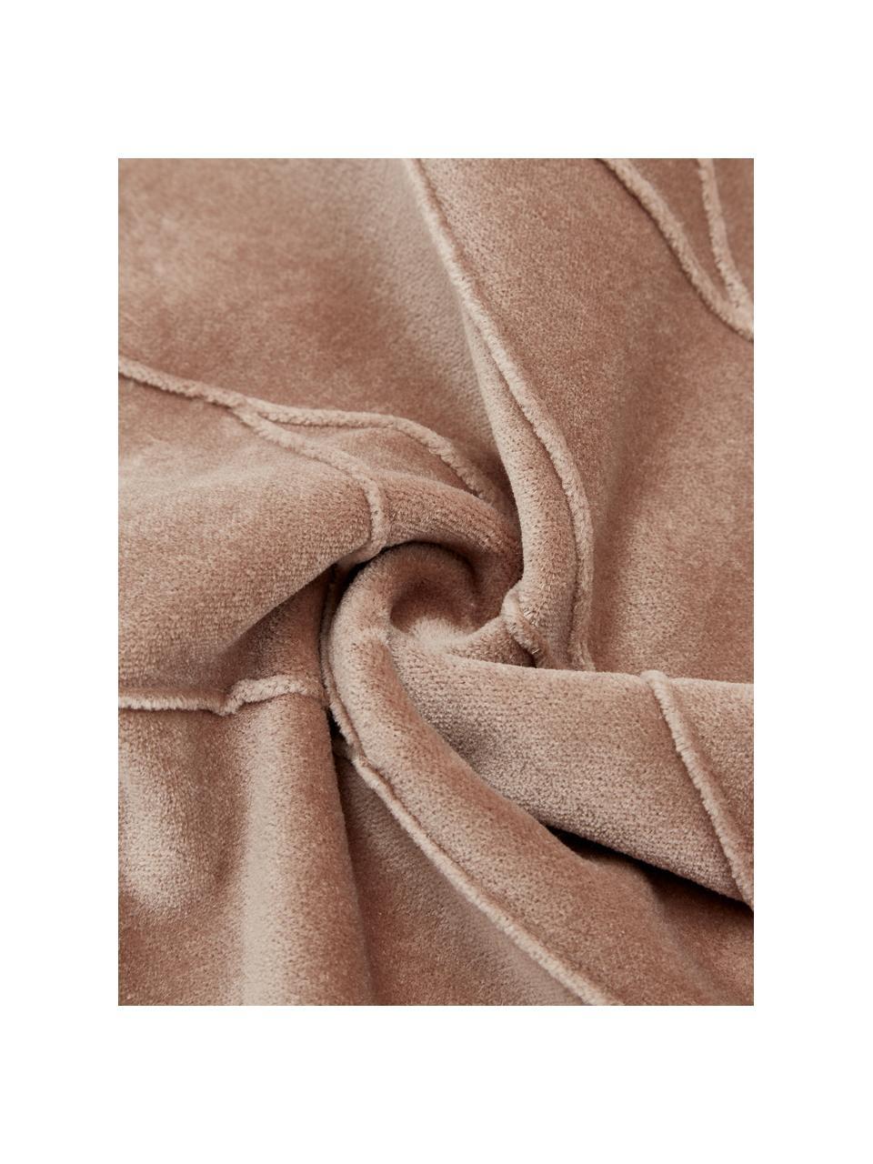Poduszka z aksamitu z wypełnieniem Pintuck, Tapicerka: 55% rayon, 45% bawełna, Brązowy, S 45 x D 45 cm