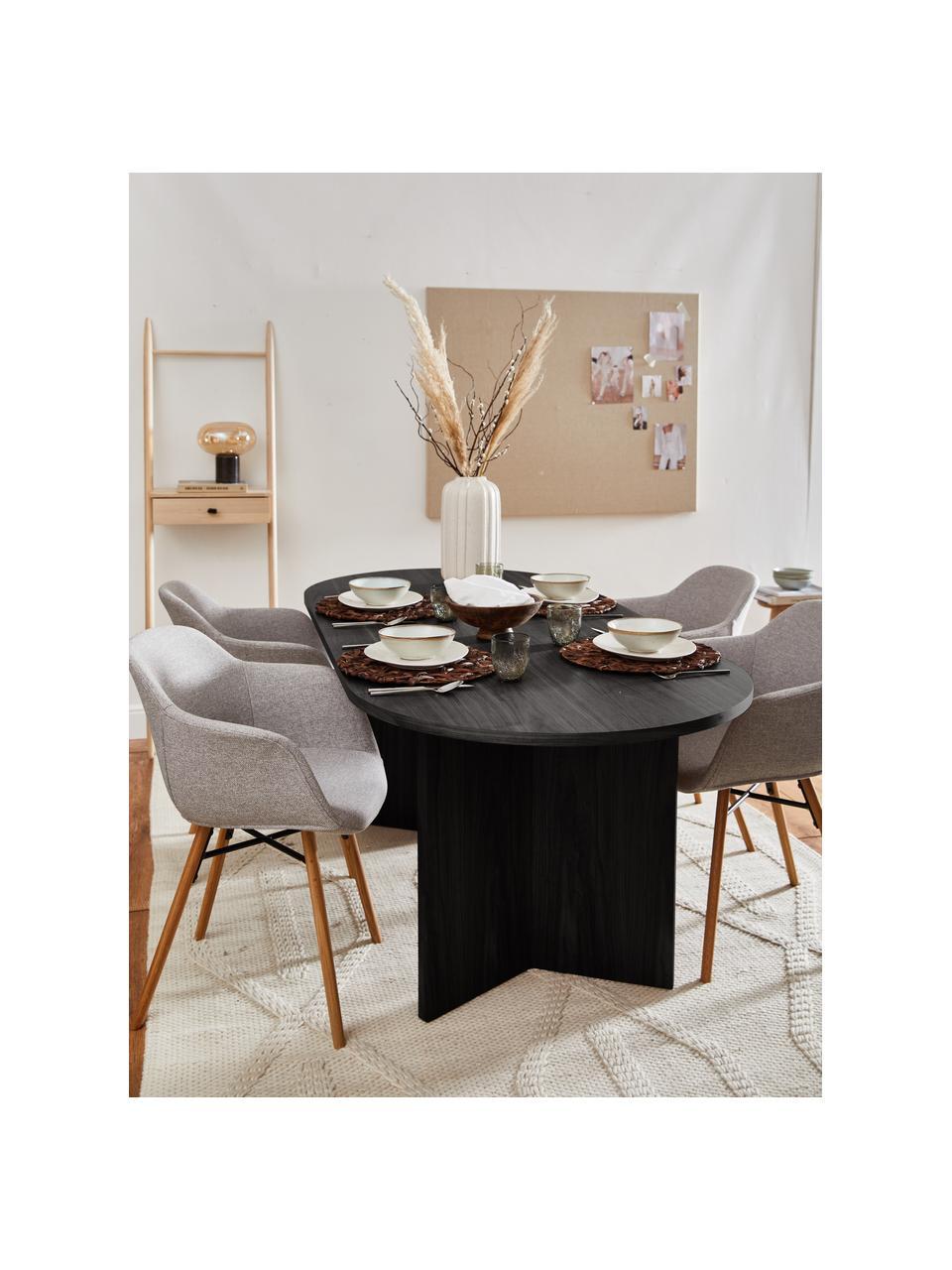 Ovaler Esstisch Toni, 200 x 90 cm, Mitteldichte Holzfaserplatte (MDF) mit Eichenholzfurnier, lackiert, Eichenholzfurnier, schwarz lackiert, B 200 x T 90 cm