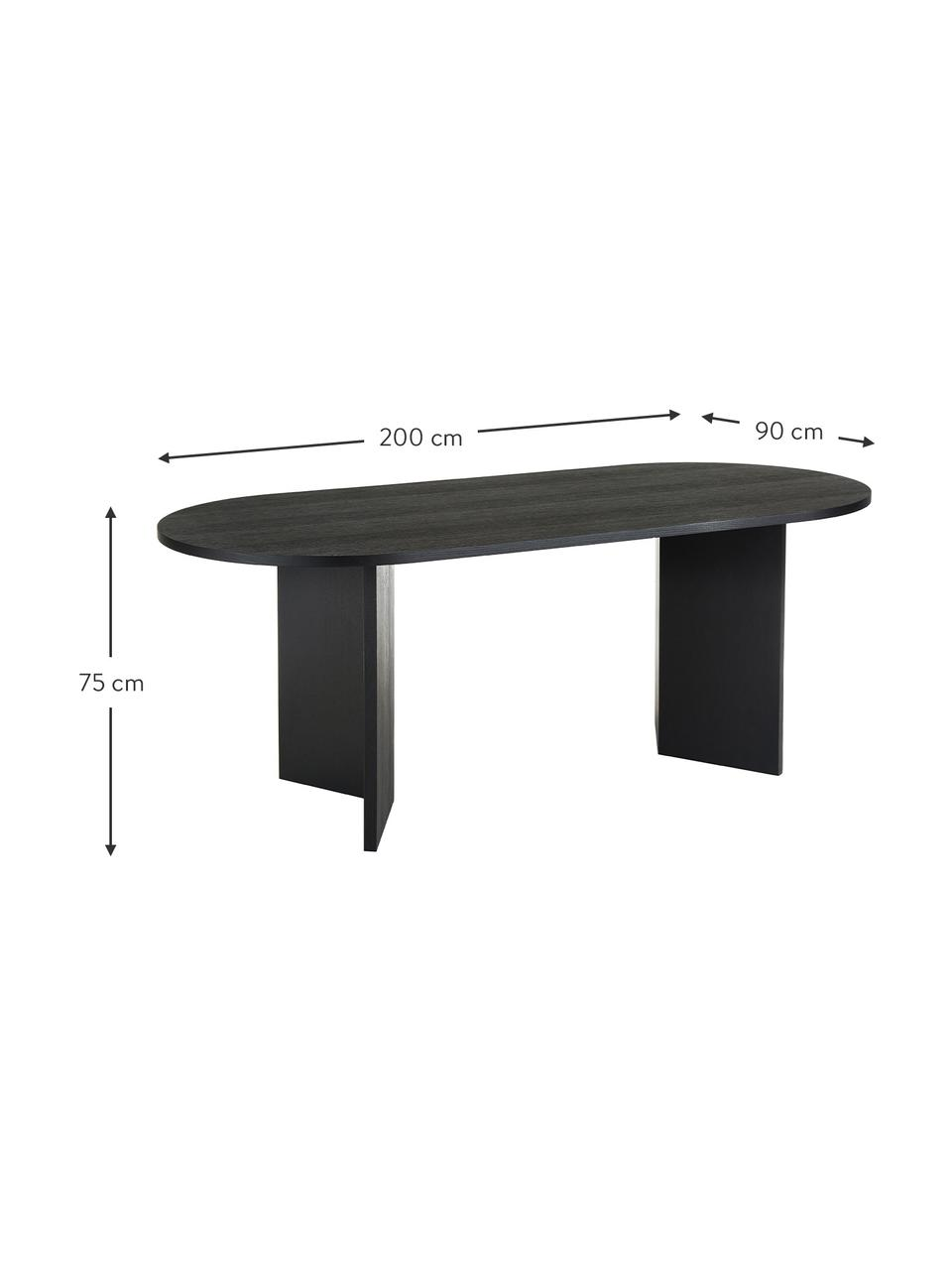 Table ovale en bois Joni, 200 x 90 cm, Placage en bois de chêne, laqué noir
