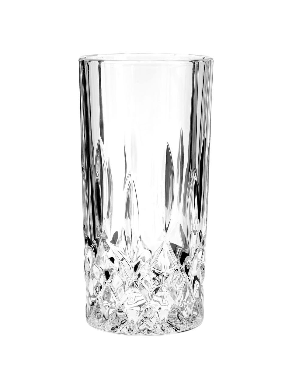 Longdrinkglazen George met kristalreliëf, 4 stuks, Glas, Transparant, Ø 8 x H 15 cm