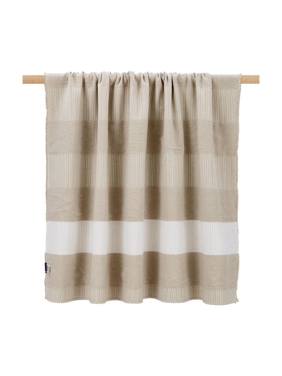 Manta de algodón Lino, 80%algodón, 15%lino, 5%viscosa, Beige, An 135 x L 200 cm
