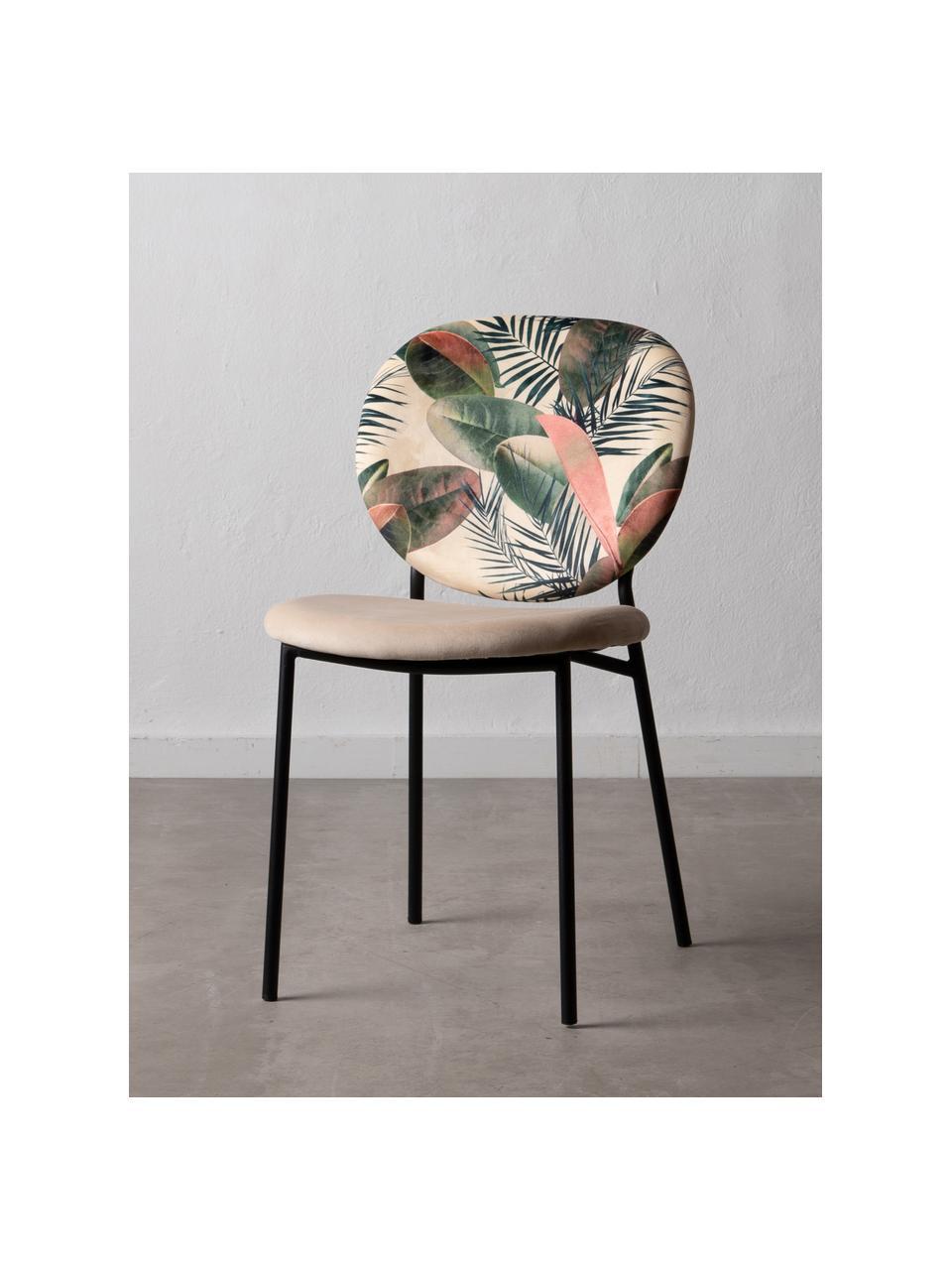 Krzesło tapicerowane Hojas, Tapicerka: 100% poliester, Stelaż: drewno naturalne, Nogi: metal, Odcienie kremowego, wielobarwny, S 50 x G 47 cm