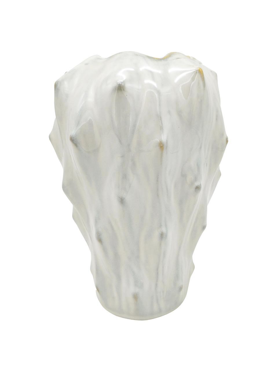 Wazon z ceramiki Flora, Ceramika, Biały, szary, Ø 20 x W 27 cm