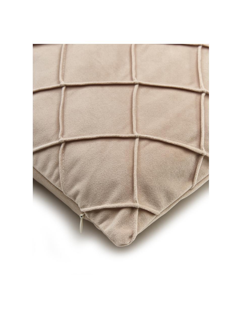 Fluwelen kussenhoes Luka in champagnekleur met structuur-ruitpatroon, Fluweel (100% polyester), Beige, 40 x 40 cm