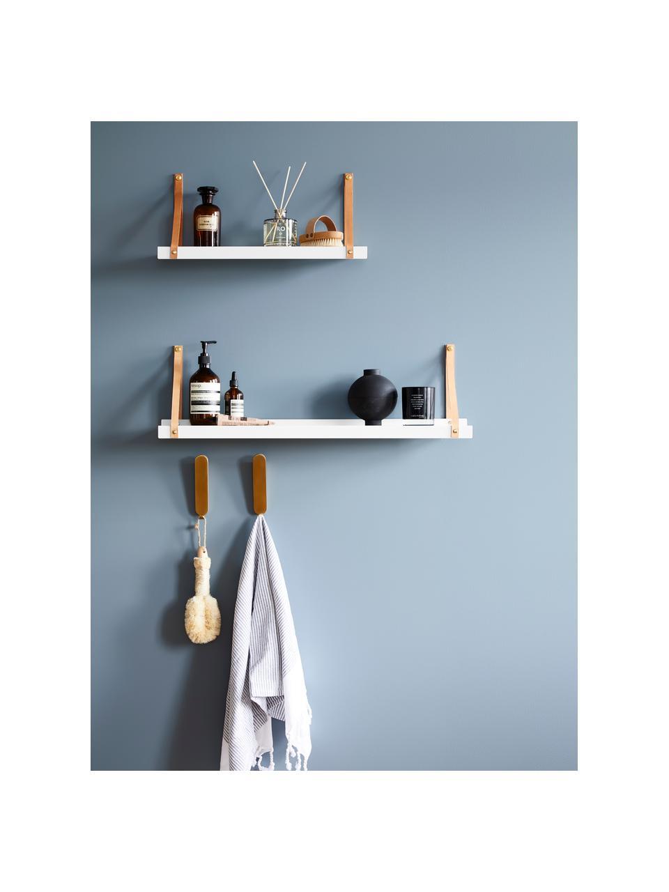 Mensola a muro con cinturini in pelle Shelfie, Mensola: metallo verniciato a polv, Cinturino: pelle, Bianco, marrone, Larg. 50 x Prof. 23 cm