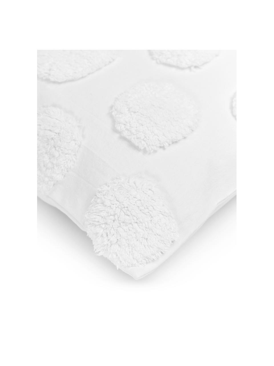 Federa arredo con motivo trapuntato Rowen, 100% cotone, Bianco, Larg. 50 x Lung. 50 cm