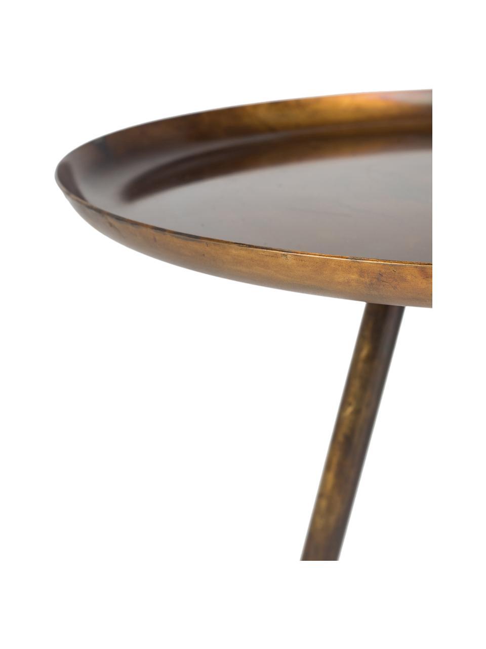 Table d'appoint en métal, ronde Frost, Couleur dorée, cuivre, finition antiquaire