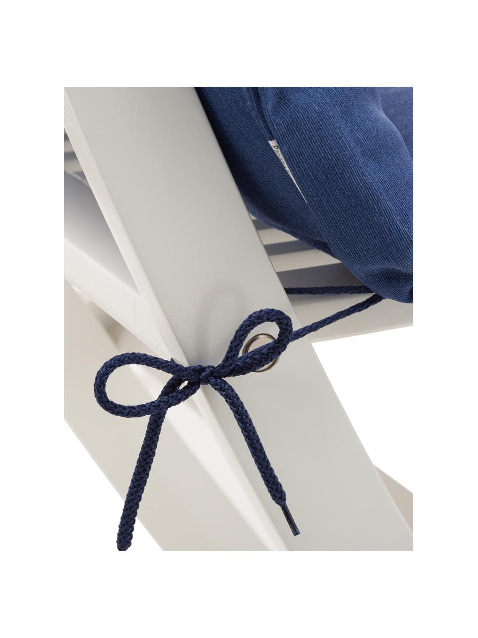 Einfarbige Hochlehner-Stuhlauflagen Panama in Marineblau, 2 Stück, Bezug: 50% Baumwolle, 50%Polyes, Marineblau, 50 x 123 cm