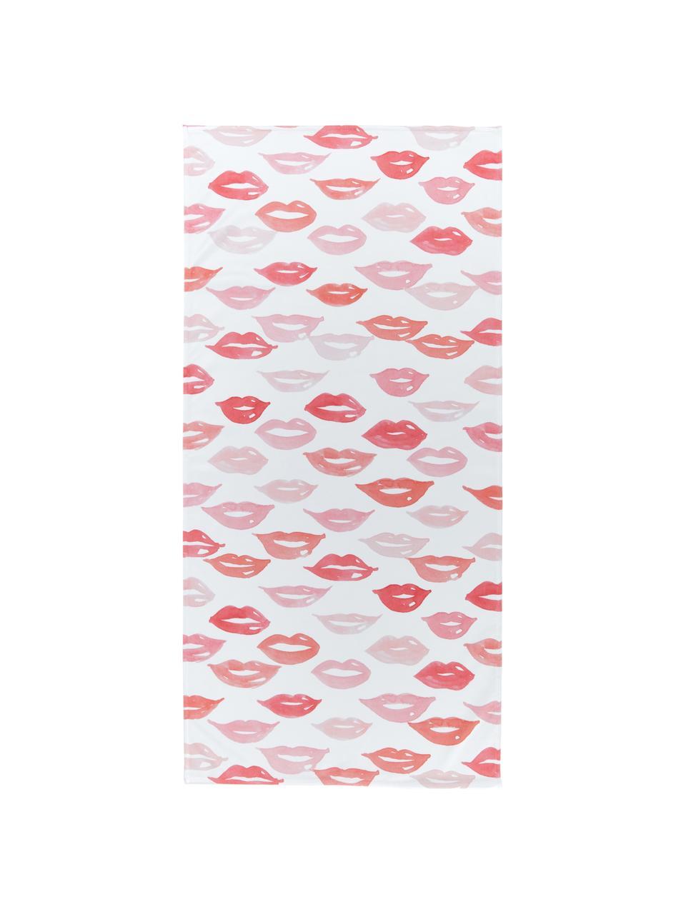 Leichtes Strandtuch Pout mit Kussmundmotiven, 55% Polyester, 45% Baumwolle Sehr leichte Qualität, 340 g/m², Weiß, Rot, Rosa, 70 x 150 cm
