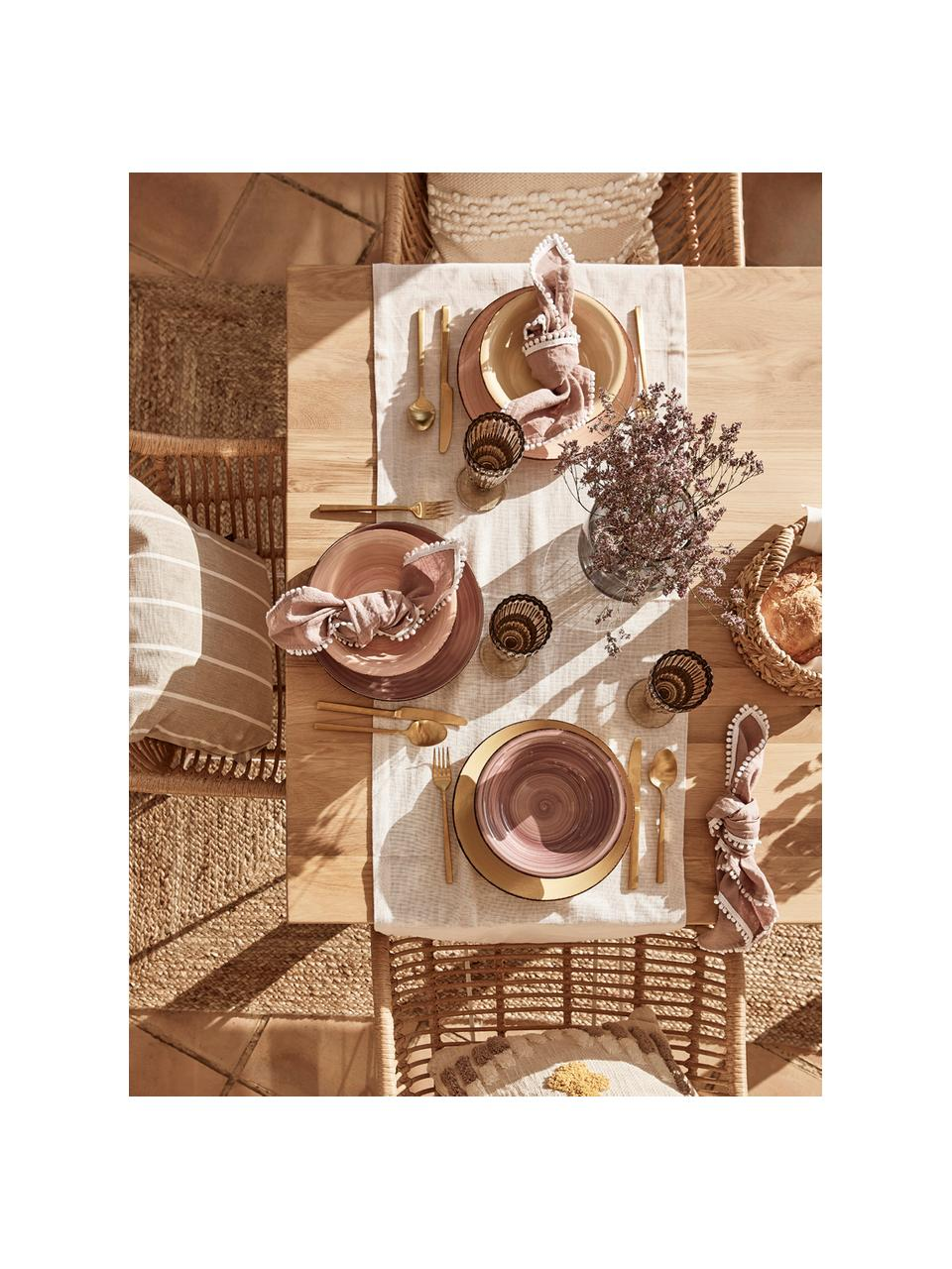 Ręcznie malowany komplet talerzy Baita, 18elem., Kamionka (twardy dolomit), ręcznie malowana, Odcienie żółtego, odcienie różowego, jasny niebieski, biały, Komplet z różnymi rozmiarami