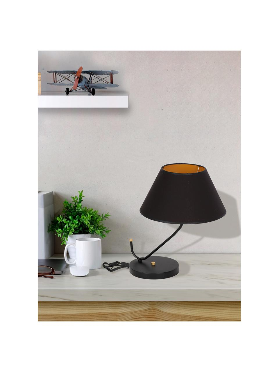 Große Tischlampe Victoria, Lampenschirm: Baumwollgemisch, Lampenfuß: Metall, beschichtet, Dekor: Metall, beschichtet, Schwarz, Goldfarben, 45 x 50 cm