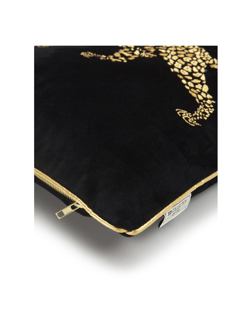 Coussin 45x45 velours noir brodé Majestic Leopard, Noir, couleur dorée