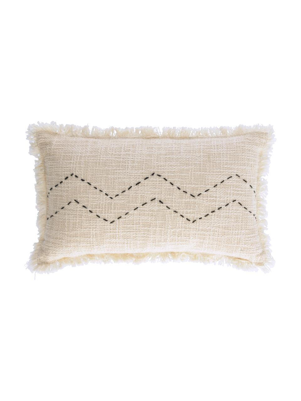 Boho Kissenhülle Seila mit Strukturoberfläche und Fransen, 100% Baumwolle, Beige, 30 x 50 cm