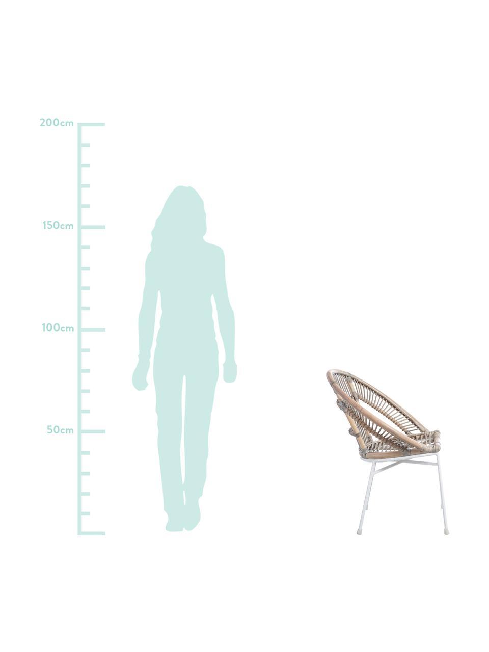 Krzesło z rattanu Carla, Nogi: metal lakierowany, Beżowy, S 63 x G 66 cm