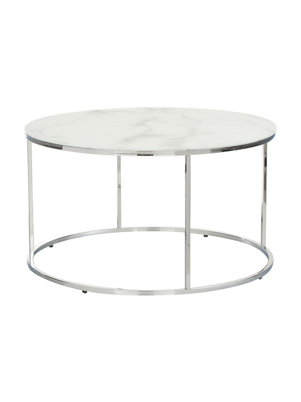Couchtisch Antigua mit marmorierter Glasplatte, Tischplatte: Glas, matt bedruckt, Gestell: Stahl, verchromt, Weiß-grau marmoriert, Silberfarben, Ø 80 x H 45 cm