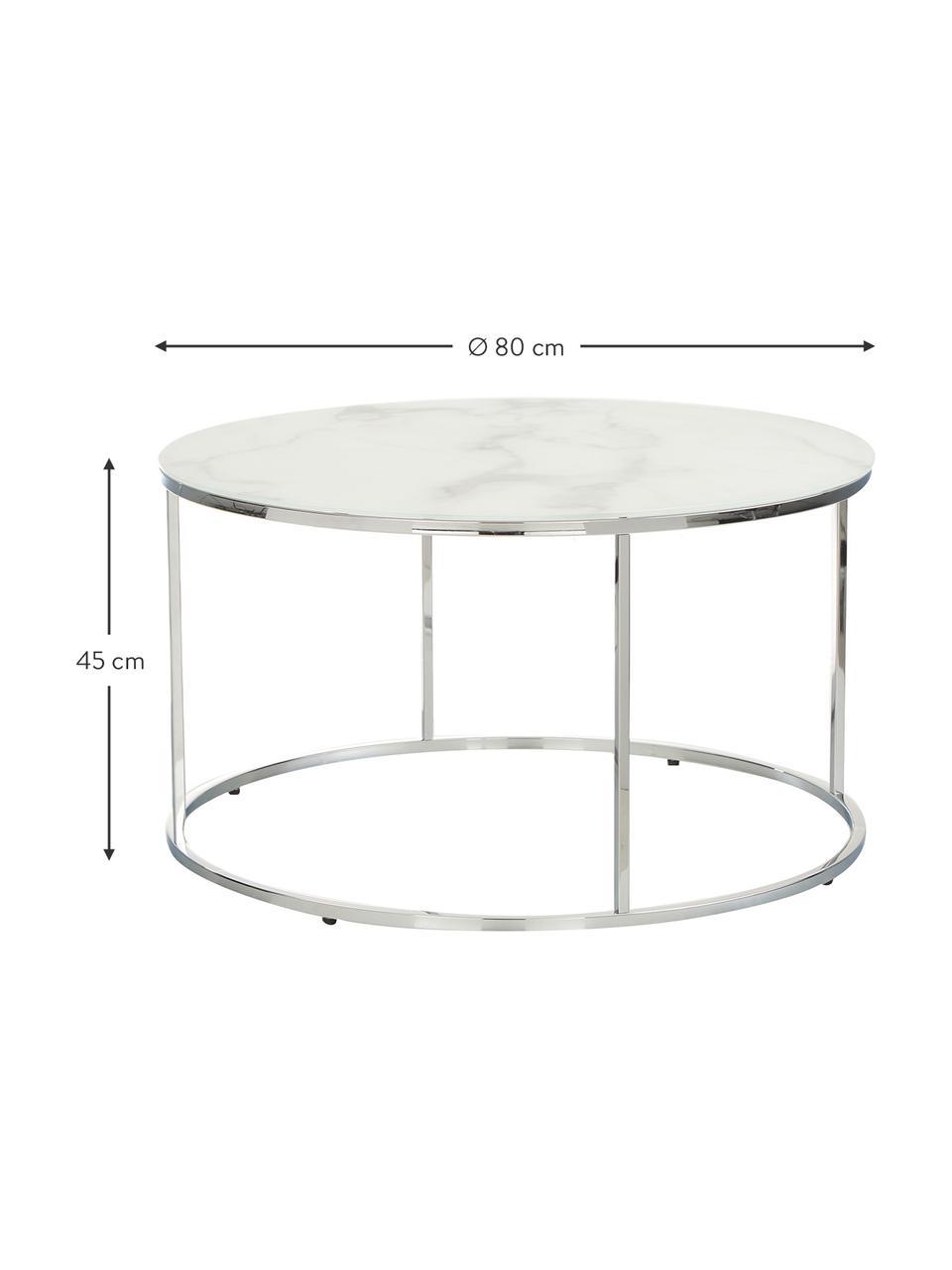 Salontafel Antigua met glazen tafelblad met marmerlook, Tafelblad: glas, mat bedrukt, Frame: staal, verchroomd, Wit-grijs gemarmerd, zilverkleurig, Ø 80 x H 45 cm