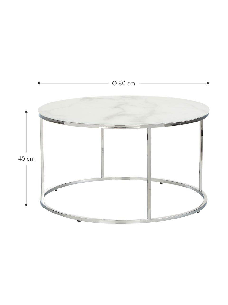 Tavolino da salotto con piano in vetro effetto marmo Antigua, Struttura: acciaio cromato, Bianco-grigio marmorizzato, argentato, Ø 80 x Alt. 45 cm