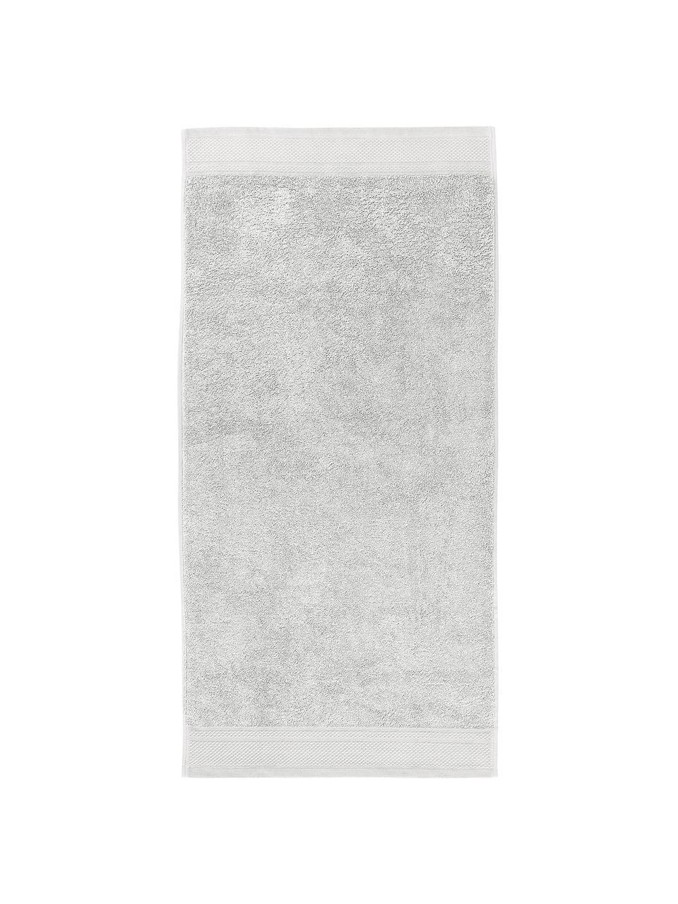 Lot de serviettes de bain avec bordure classique Premium, 3élém., Gris clair