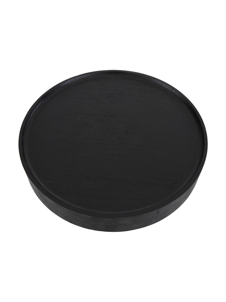 Salontafel Benno van mangohout in zwart, Massief gelakt essenhout, Zwart, Ø 80 x H 35 cm