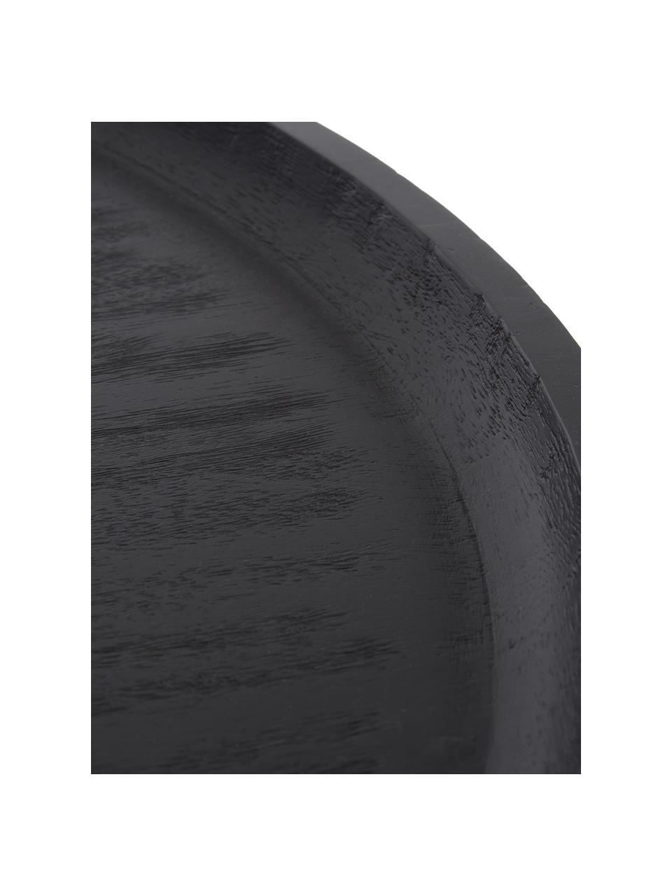 Salontafel Benno van mangohout in zwart, Massief gelakt essenhout, Zwart gelakt mangohout, Ø 80 x H 35 cm