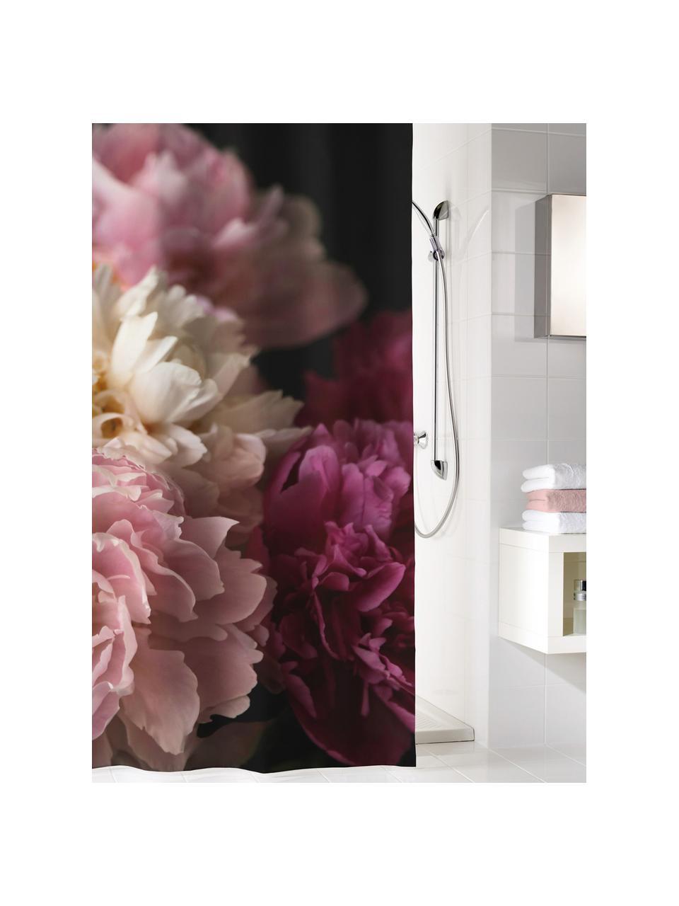 Rideau de douche à imprimé floral Rosemarie, Noir, tons roses