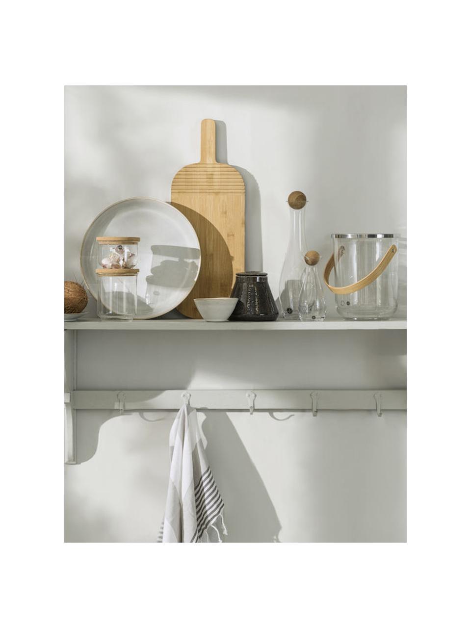 Karafka ze szkła dmuchanego z drewnianą pokrywką Eden, 1 l, Transparentny, drewno dębowe, W 35 cm