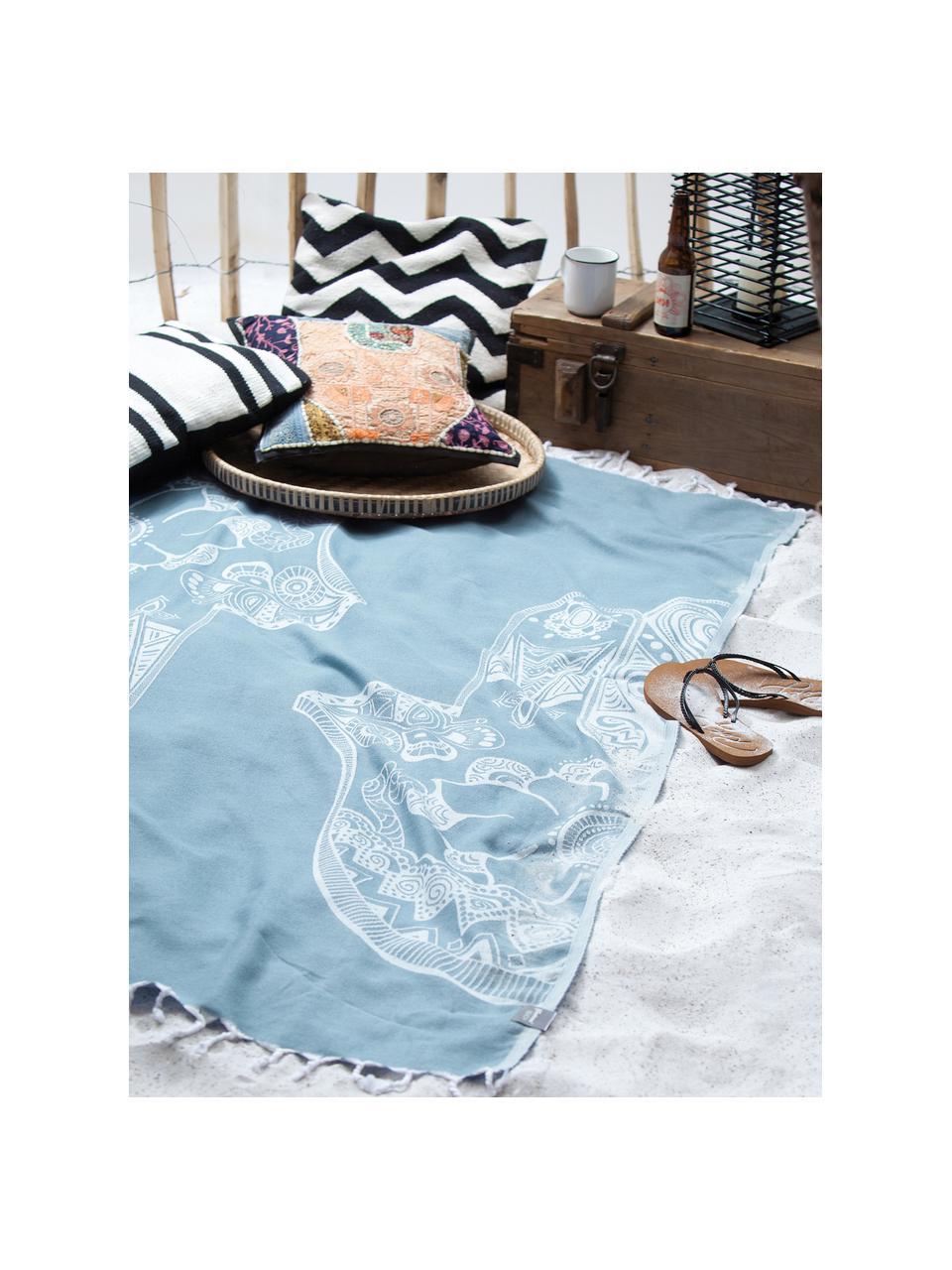 Hamamtuch Hamsa, 100% Baumwolle, leichte Qualität, 180 g/m², Hellblau, Weiß, 90 x 180 cm