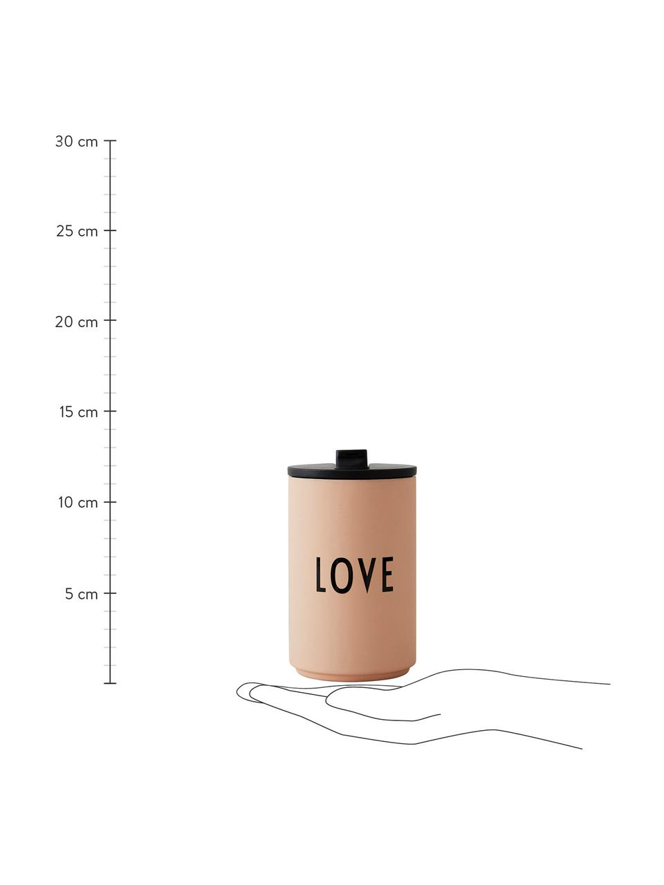 Design Coffee-to-go-Becher Favourite LOVE in Pfirsichfarben mit Schriftzug, Edelstahl, beschichtet, Pfirsichfarben, Ø 8 x H 13 cm