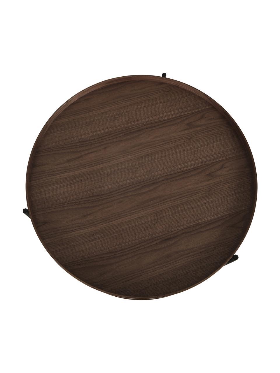 Holz-Couchtisch Renee mit Walnussholzfurnier, Gestell: Metall, pulverbeschichtet, Walnussholz, Ø 69 x H 39 cm