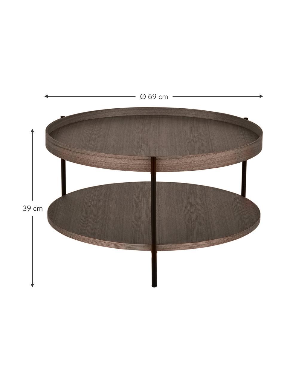 Tavolino da salotto con piano d'appoggio Renee, Ripiani: pannello di fibra a media, Struttura: metallo verniciato a polv, Legno di noce, Ø 69 x Alt. 39 cm