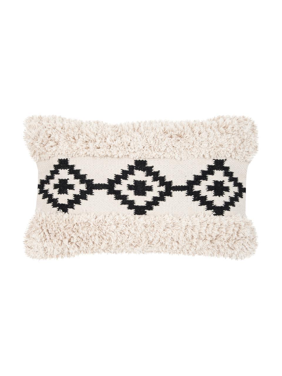 Poszewka na poduszkę boho Taima, 100% bawełna, Ecru, czarny, S 30 x D 50 cm