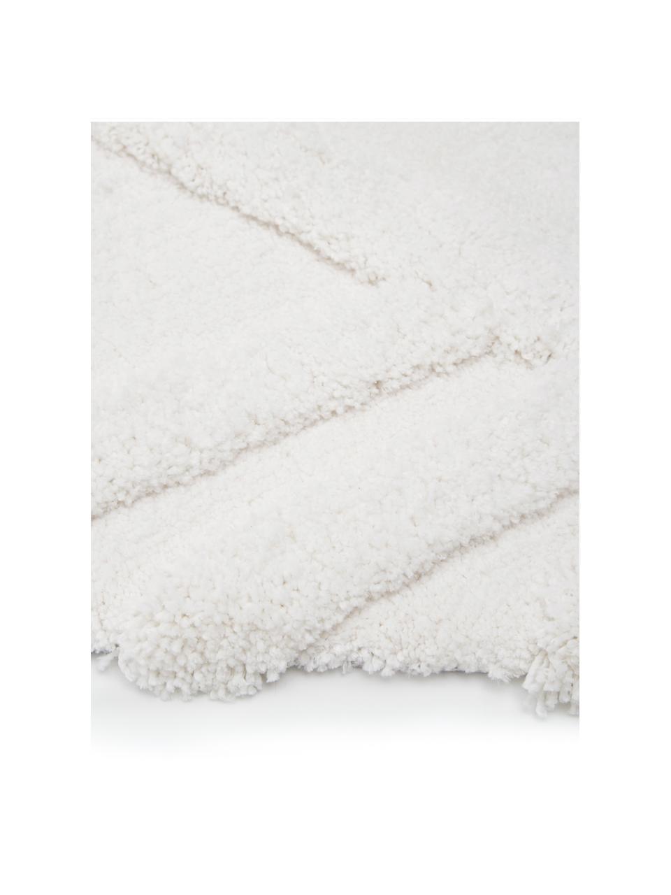 Fluffy boho hoogpolig vloerkleed Magda met verhoogd hoog-laag patroon, Bovenzijde: 100% polyester (microveze, Onderzijde: 55% polyester, 45% katoen, Beige, B 200 x L 300 cm (maat L)