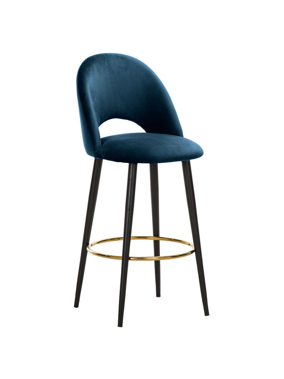 Sedia da bar in velluto blu Rachel, Rivestimento: velluto (poliestere) 50.0, Gambe: metallo verniciato a polv, Velluto blu scuro, Larg