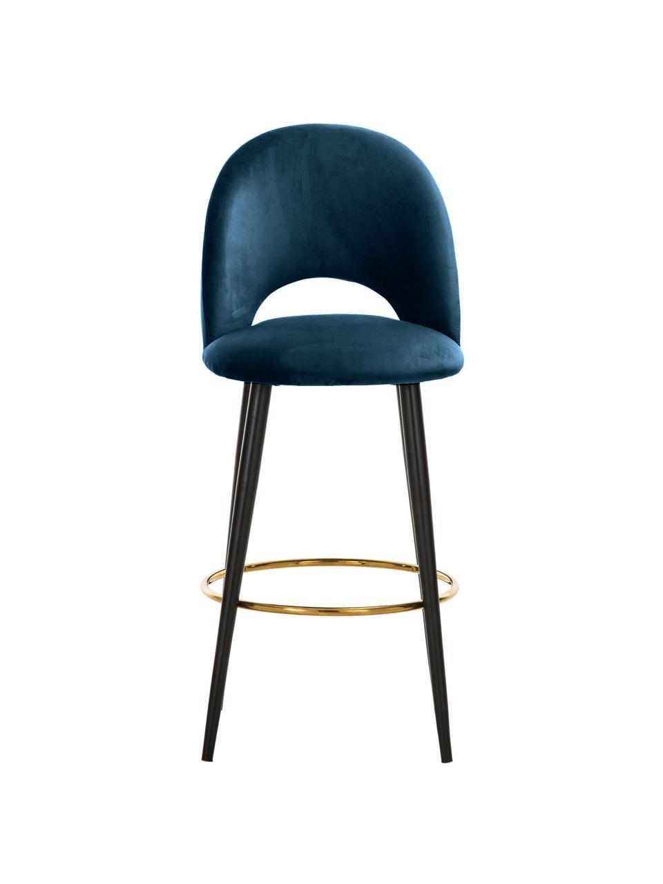 Samt-Barstuhl Rachel in Blau, Bezug: Samt (Hochwertiger Polyes, Beine: Metall, pulverbeschichtet, Samt Dunkelblau, 48 x 110 cm
