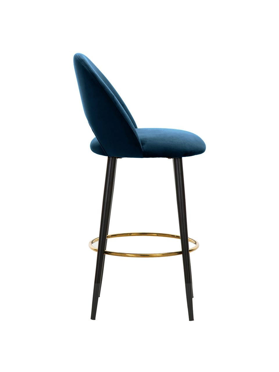 Fluwelen barstoel Rachel in blauw, Bekleding: fluweel (hoogwaardig poly, Poten: gepoedercoat metaal, Fluweel donkerblauw, 48 x 110 cm