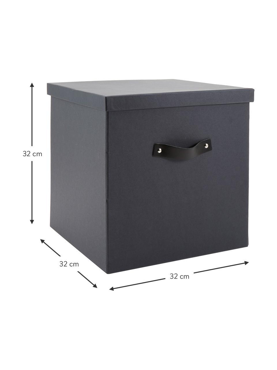 Scatola con coperchio Texas, Scatola: solido, cartone laminato, Manico: pelle, Grigio scuro, Larg. 32 x Alt. 32 cm
