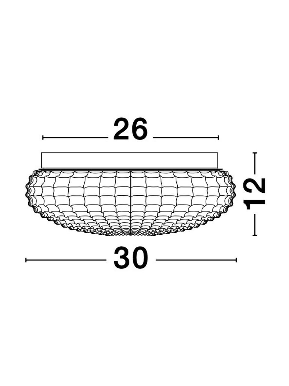 Kleine Deckenleuchte Clam aus Glas, Lampenschirm: Glas, Baldachin: Stahl, beschichtet, Weiß, Ø 30 x H 12 cm
