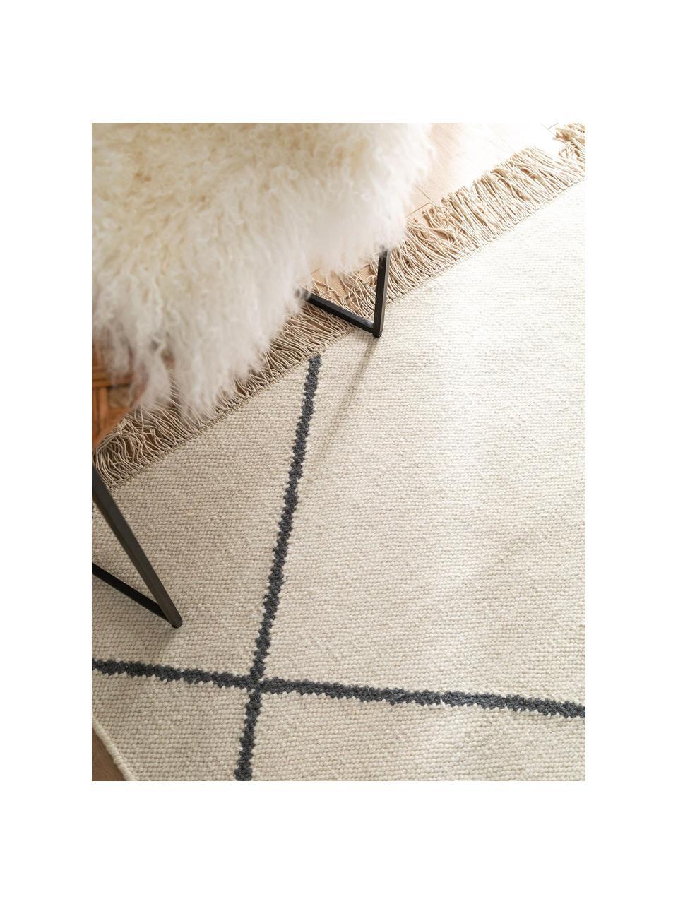 Handgewebter Kelim-Teppich Vince mit Zick-Zack-Muster und Fransen, 90% Wolle, 10% Baumwolle  Bei Wollteppichen können sich in den ersten Wochen der Nutzung Fasern lösen, dies reduziert sich durch den täglichen Gebrauch und die Flusenbildung geht zurück., Elfenbein, Dunkelgrau, B 200 x L 300 cm (Größe L)